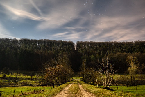 Valley of the Seven Castles by Moonlight near Septfontaines