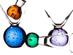 Bubble Glasses (Karen_Chappell) Tags: glass glasses white blue green orange purple stilllife product four 4 bubbles round circle ball multicoloured colourful colours colour color shapes highkey