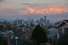 Magnolia Sunset Views 18 (C.M. Keiner) Tags: seattle washington usa city cityscape skyline mountains pacific northwest puget sound sunset magnolia hills clouds spring cherry blossoms