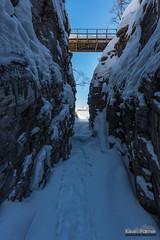 Under the Bridge (kevin-palmer) Tags: björkliden sweden swedishlapland arctic europe march winter cold frozen snow snowy morning ice icy icefall canyon silverfallet rakkasjohka bridge blue sky sigma14mmf18 nikond750