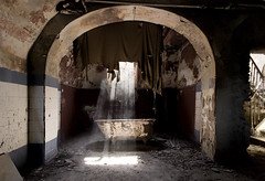 The Bath For The Dirty Souls (Giorgio Marra) Tags: abandoned forgotten lost decay dark dust decadence shadow silence echoes empty room time urbex italy indoor old contrast photography past photo light flickr darkness canon memories mansion fotografia abbandono window wall bathroom