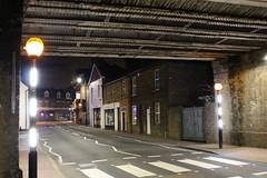 Night Shoot,87 (doojohn701) Tags: night dark dusk crossing bridge girders houses shops yellow road markings lines windows lights white village uk