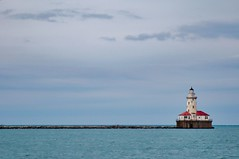 Horizon (yellocoyote) Tags: america blue building chicago cloud dark fresh great horizon house il illinois lake lakes landscape light lighthouse michigan moody red safety scene scenic sea states structure teal united us usa wake wall water waves