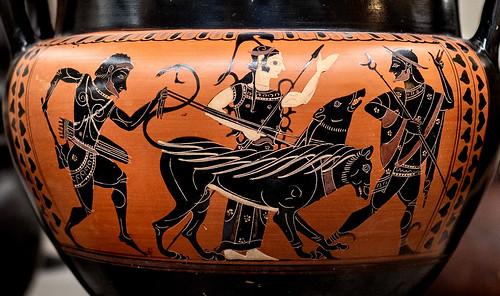 Athena and Hermes help Hercules steal Cerberus