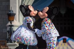 Mickey and Minnie Share a Kiss (Samantha Decker) Tags: canonef135mmf2lusm canoneos6d fl florida lakebuenavista magickingdom mickeymouse minniemouse orlando samanthadecker wdw waltdisneyworld nonfacecharacter ropedrop themepark