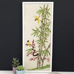Birds. (Kultur*) Tags: vintage vintagedecor wallhanging homedecor crewelembroidery embroideredpicture needlepointart asianinspired vintagecrewel bambooframe birdlover asiandecor walldecor