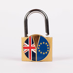 Brexit medal coin with padlock on white background thumbnail