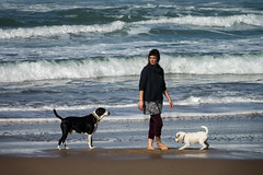 'Two and One' (Canadapt) Tags: woman dogs sea sand surf beach trio three praiapequeno portugal canadapt