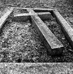 The cross on the ground (Richie Rue) Tags: undercliffe cemetery grave graveyard mamiyac220 mediumformat mf squareformat 6x6 film analogue fomapan400 foma cross stone remember remembrance ishootfilm istillshootfilm filmsnotdead yorkshire england uk northern