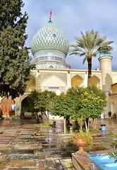 iran dec 18 (68) (gerboam) Tags: iran islamic republic december 2018 mosque onion dome tiles palm tree courtyard rain pool arch decoration islam muslim persia