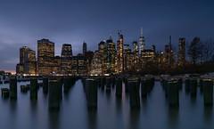 Manhattan Skyline (Edwin Wagner) Tags: dumbo nycskyline manhattan longexposure night river newyork nightphotography manhattanskyline