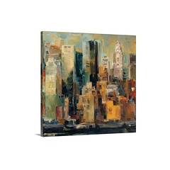 New York, New York Wall Art - Canvas - Gallery Wrap - A landscape painting of New York City on a square canvas, this painting gives the impression of light reflecting off the skyscrapers with broad brush strokes and avoiding unnecessary details.   Check o (spaceplug) Tags: love photooftheday canvas shop mood spaceplug like buy happy gallerywrap wallart like4like photo nice home bigcanvas followus decor paintings perfectpic nyc sel photography follow4follow