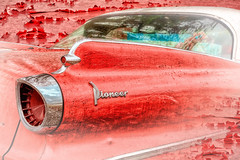 Pioneer Exfoliation (Goromo) Tags: 1960dodgepioneer car dodge pioneer 1960 peelingpaint paint red tailfin taillight