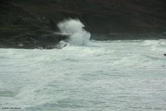3KB12399a_C (Kernowfile) Tags: pentax conwall cornish stives porthmeorbeach sea waves breakingwaves spray foam spindrift rocks sky cliffs manshead clodgy
