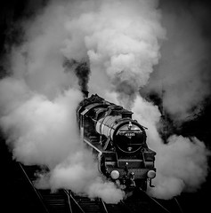 Double departure (Peter Leigh50) Tags: 73156 45305 great gcr gala central railway railroad rail steam station locomotive loughborough engine class 5mt br lms black white blackandwhite mono monochrome fujifilm fuji xt2 winter train track