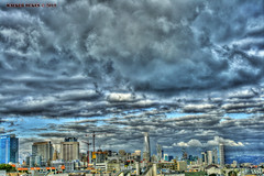 Afternoon Clouds (Walker Dukes) Tags: sanfrancisco california sky sfbayarea sf blue black buildings canon cityscape canonxti green gold highdefinitionresolution highdefinition hdr landscape orange photomatix photoshop photograph red urban view vista white xti yellow cyan