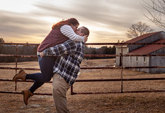 Save the date (smickstudios) Tags: engagement engaged save dates kissing hugging barn rustic fence fall autumn photographer photography sunset sun grass boots plaid