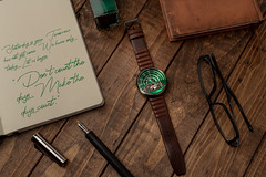 The The Halograph II Watch Automatic Limited Edition (green) (Muhammad Al-Qatam) Tags: nikon d850 watch xeric halograph still life time fountain pen