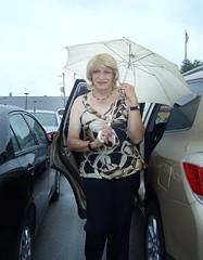 A Rainy Summer Day Back In 2012 (Laurette Victoria) Tags: rain umbrella animalprint laurette woman blonde