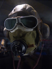 The Pilot (Steve Taylor (Photography)) Tags: pilot helmet goggles headphones microphone model museum brown green black leather glass canvas newzealand nz southisland canterbury christchurch airforcemuseum wigram