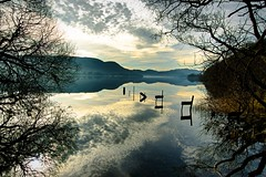 forgotten... (vincocamm) Tags: ullswater cumbria lakedistrict february sun sunny reflection waterscape trees hills mountains calm cloudscape old jetty ruin pooleybridge hallin fell hallinfell still mirror nikon d5500 english blue grey winter lake clouds wide wideangle water uk british