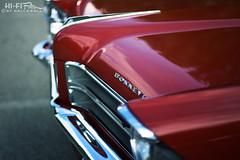 Her name was Bonnie (Hi-Fi Fotos) Tags: pontiac bonneville vintage gm american classiccar nose red chrome badge grille hood nikkor 50mm 14 nikon d7200 dx hififotos hallewell