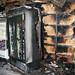 Fire damaged shop stock photo