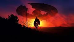 Drama (Iforce) Tags: wallpaper art lights colors spaceship trees alien ufo digital design sun clouds awardtree