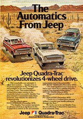 1974 American Motors Jeep Cherokee Jeep Truck Jeep Wagoneer Quadra-Trac Automatic 4WD USA Original Magazine Advertisement (Darren Marlow) Tags: 1 4 7 9 19 74 1974 a american motors j jeep c cherokee p pickup t truck w wagoneer automatic quadrat trac d 4wd car cool collectible collectors classic automobile q v vehicle u s us usa united states america 70s
