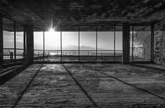 Room With View (HDR B&W) (panos_adgr) Tags: nikon d7200 architectural photography building decay old abandoned bw monochrome attica piraeus greece flickr explored flickrexplore urban sunrise room sunlight shadow balcony windows spiritual center microlimano dilaveri coast sky sun bricks texture morning mood handheld hdr blending