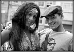 Bezzies (* RICHARD M (Over 8 MILLION VIEWS)) Tags: street portraits portraiture streetportraits streetportraiture mono blackwhite couples smiles fun happy happiness cap clothcap headwear headgear pearlywhites stubble liverpool merseyside liverpudlians scousers scouse merseysiders glamour glam glamorous prettygirls glamourgirl expressions