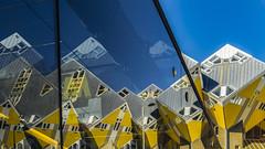 cube reflections (Blende1.8) Tags: cubehouse cubehouses kubushaus cityscape gelb blau yellowblue yellow blue reflections spiegelung city stadtlandschaft rotterdam netherlands niederlande architecture architektur modernarchitecture modern 24240mm sel24240 sony alpha ilce7m2 a7ii a7m2 europe geometry abstract abstrakt blaak