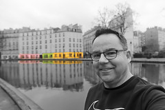 10/52 Canal Saint-Martin (Meteorry) Tags: europe france idf îledefrance paris quaidevalmy quaidejemmapes ruederécollets canalsaintmartin canalstmartin antoineetlili cutout photoshop reflections réflets water parisien 52weeks 52semaines me moi perrytak selfportrait autoportrait selfie man homme guy kygo valeriebroussard nike sweater face visage morning matin cloudy gloomy blackandwhite noiretblanc facade façade march 2019 meteorry