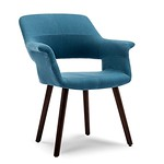 Belleze Accent Chair Living Room Armchair Linen Mid-Century Style Armrest Curved w/Wooden Leg, Blue Review thumbnail