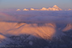 Peak 8675 Above The Clouds (Dan Bailey Photo) Tags: alaska aerialphoto winter mountian peak summit sunset pink alpenglow landscape scenic usa