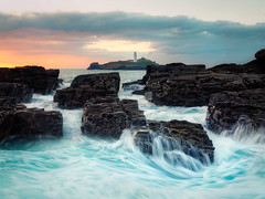 Godrevy Power (Timothy Gilbert) Tags: godrevy lighthouse gwithian beach waves sunset coast m43 microfourthirds panasonic microfournerds lumix panasonic20mmf17ii gx8 cornwall rocks