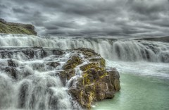 PhotoArt Integration - Gullfoss, Upper Falls (Iceland) (peterwaller) Tags: iceland water waterfalls flow river clouds dark landscape nature cold photomatix hdr