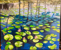 Waterlilies in oil - original painting (Marian Pollock) Tags: art painting oil canvas waterlilies flowers leaves pond water reflections fiji pacificharbour artwork shadows lake sunny drawing