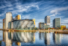 Salford Quay & Media City (Kev Walker ¦ 9 Million Views..Thank You) Tags: manchester architecture england quayside salford canal cityscape landmark bridge salfordquays dusk city reflection buildings commercial uk mediacity urban lowry night dock modern skyline quays studios river broadcasting radio design media tv metropolitan blue shipcanal sky footbridge britain quay british travel ship contemporary water twilight europe waterfront exterior theater united lights daytime