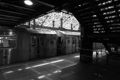 Coney Island (Blinking Charlie) Tags: coneyislandstillwellavenue subway terminal mta brooklyn coneyisland platform trainshed newyorkcity nyc newyork usa 2017 sonydscrx100m3 blinkingcharlie bw blackwhite blackandwhite lightandshadow
