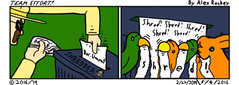 Team Effort... (AlexArrow) Tags: teameffort team effort comics comicstrip comic strip webcomic teamwork cartoons bird birds birdies love bun bunny bunnies paper shredding shredder tmnt