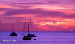 Miracle Sunset with Yachts on Phuket island               XOKA5956bs (Phuketian.S) Tags: sunset nature sea yacht catamaran boat ocean phuket thailand naiharn sky skyline cloud color red pink blue violet закат море яркий красочный яхта катмаран пхукет таиланд океан небо облака природа landscape phuketian fishing ship facebook