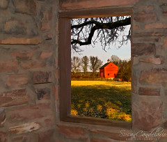 The View (Susan Candelario) Tags: autumn landscape northamerica pennsylvania redbarn rural shadow unitedstates afternoon barn country day daytime digitally enhanced fall grass lawn timeperiod trees view window