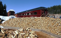HWW .. (Mr. Happy Face - Peace :)) Tags: window lakelouise art2019 historic train station albertabound split fire wood pile