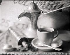 Coffee Time (Valentine Kleyner) Tags: coffee stilllife 4x5 lf wista 45d film fomadon d76 fuji fujinon stand bw