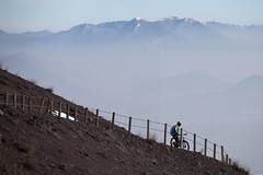 Downhill (Elios.k) Tags: horizontal outdoors people oneperson bicycle mountainbike cycling bike sport outdoorpursuit recreation activity distance sky sorrentopeninsula sentierodelgrancono lattarimountains sorrentinepeninsula mountain peak snow dof depthoffield focusonforeground backgroundblur vesuvius montevesuvio volcano path fence crater view height pompeii gulfofnaples colour color weather cloudy haze visibility hazy travel travelling february 2018 vacation canon 5dmkii camera photography napoli naples campania italy europe