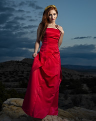Licia at the Ojito Wilderness (Mitch Tillison Photography) Tags: beautiful stunning gorgeous lovely attractive femme female woman model redhead ginger fashion glamour portrait photo photography shoot outdoors desert southwest ojito wilderness badlands gown red editorial mitchtillison nikon d750 nikkor 24120 dusk twilight dramatic new mexico style
