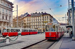 Red stereo (my lala) Tags: vienna wien tram tramway trams streetphotography red stereo