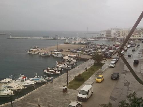 Morning shower, Tinos harbor