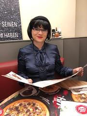 Pizza Hut (Marie-Christine.TV) Tags: feminine transvestite lady mariechristine pussybow blouse satin satinbluse schluppenbluse tgirl tgurl dame
